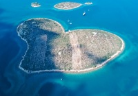 Aerial view of beautiful heart-shaped Island of Galesnjak, also called Island of Love, in Pasman channel, Croatia,Aerial view of beautiful heart-shaped Island of Galesnjak, also called Island of Love, in Pasman channel, Croatia