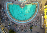 Aerial shot of swimming pool Gellert spa and bath Budapest, Hungary. Aerial view,Aerial shot of swimming pool Gellert spa and bath Budapest, Hungary. Aerial view