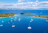 Aerial view of cozy mediterranean island. Blue lagoon, island paradise. Adriatic Sea of Croatia, popular touristic destination. Clear sea water.,Aerial view of cozy mediterranean island. Blue lagoon, island paradise. Adriatic Sea of Croatia, popular touristic destination. Clear sea water.